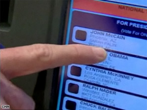 A caller to CNN's voter hotline reported that his mother had difficulty accurately casting her ballot on a touch screen like the one pictured here.