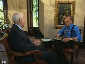 Larry King interviewed John McCain Wednesday. Watch the full interview tonight, 9 p.m. ET.