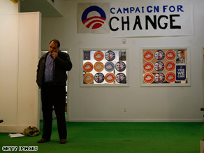 Obama aide David Axelrod, pictured here at a Pennsylvania campaign office earlier this week, called the release of information about Sen. Obama's aunt 'suspicious.'