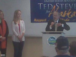 Sen. Ted Stevens campaigning in Alaska.