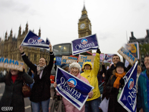 Supporters of Barack Obama rally on Westminster bridge in London on Saturday.