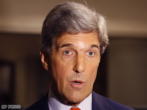 Incumbent Sen. John Kerry (D-MA) addressed the media after a debate last month with his opponent.