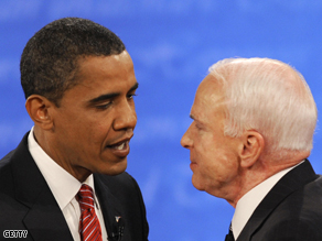 Barack Obama and John McCain at the end of their final presidential debate.
