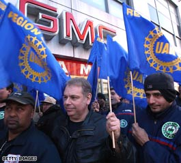 Autoworkers rally Monday for a bailout.