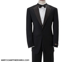 Obama will reportedly be wearing a tuxedo from suburban Illinois-designer Hart Schaffner Marx.