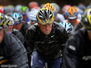 Lance Armstrong's bike was missing after he competed  in the first day of the Amgen Tour of California.