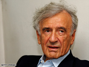 Elie Wiesel called on the federal government to bail out charities just as it has bailed out carmakers and banks.