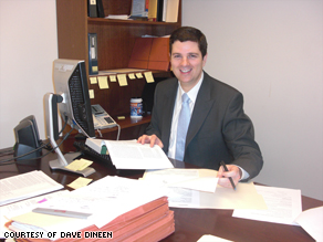 Attorney Dave Dineen at his new job at Greater Boston Legal Services.