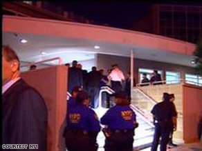 New York police arrive at the synagogue that was allegedly targeted.
