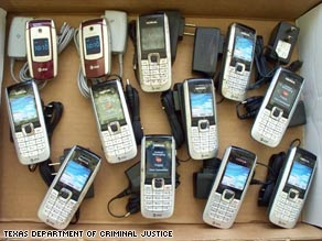 Hundreds of contraband cell phones were found behind bars or in transit to Texas inmates in 2008.