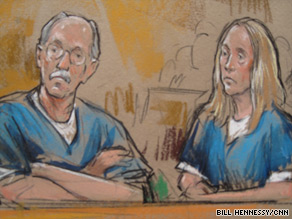An artist's sketch shows Walter Kendall Myers, 72, and his wife, Gwendolyn Myers, 71, in court Wednesday.