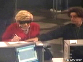 Surveillance video shows Thomas Parkin, left, dressed as his mother at a DMV office on April 29, authorities say.