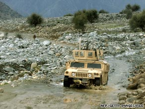 A U.S. military Humvee patrols the volatile Afghan-Pakistan border area earlier this year.
