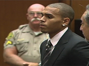 Chris Brown appears at the hearing Wednesday. The actual sentencing will take place today.