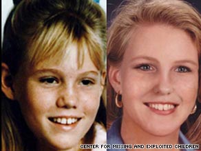Jaycee Lee Dugard as she looked in 1991 and an age-progression image of what she might look like as an adult.