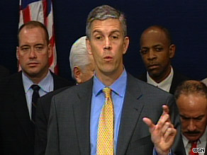 Education Secretary Arne Duncan speaks during a news conference in Chicago on Wednesday.
