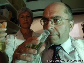 Mel Rosenberg at work in his 'smell laboratory' found that coffee can lead to good breath.