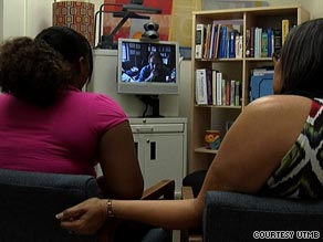 Virtual care: A teen, with her mother, gets counseling from a psychiatrist via telemedicine.