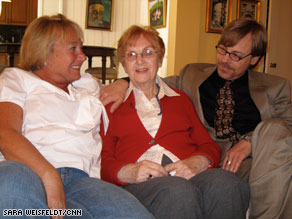 Elisabeth Mann, the only member of her family to survive the Holocaust, sits with her children, Nancy and Thomas.