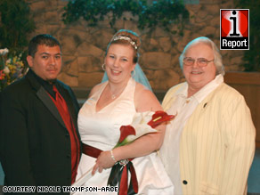 Nicole Thompson-Arce poses on her wedding day with her husband, Mathew Arce, and her ex-mother-in-law.