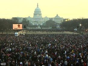 Up to 2 million people are expected to gather among the Capitol, White House and Lincoln Memorial by noon.