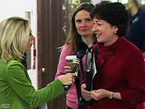 Sen. Susan Collins, R-Maine, right, is one of the senators responsible for Friday's compromise plan.