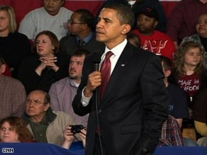 President Obama listens to a question at a town hall meeting in Elkhart, Indiana, on Monday.