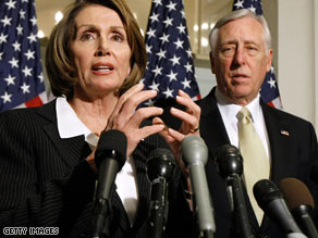 House Speaker Nancy Pelosi, here with Rep. Steny Hoyer, has delayed the House vote until Friday.