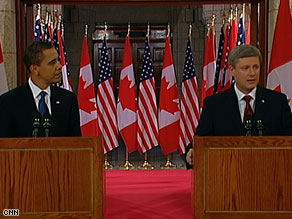 President Obama with Canadian Prime Minister Stephen Harper at their press conference in Ottawa. Image Courtesy CNN.