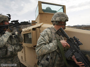U.S. soliders conduct a joint military exercise with the Afghan National Army in Afghanistan on Monday.