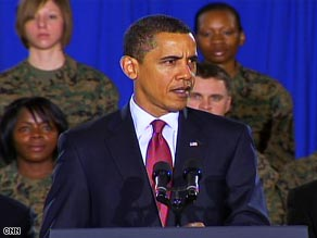 President Obama talks about his Iraq War withdrawal plan at Camp Lejeune, North Carolina, on Friday.
