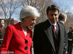 Kansas Gov. Kathleen Sebelius walks with Louisiana Gov. Bobby Jindal after meeting with the president this week.