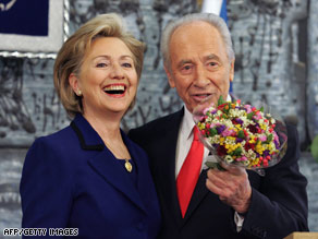 Secretary of State Hillary Clinton meets with Israeli President Shimon Peres in Jerusalem on Tuesday.