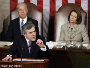 Joseph Biden and Nancy Pelosi watch Wednesday as Prime Minister Gordon Brown addresses Congress.