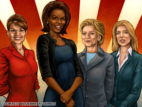 No capes, no tights: Female Force stars Sarah Palin, Michelle Obama, Hillary Clinton and Caroline Kennedy.