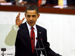 Nearing the end of his first overseas trip, President Obama addresses the Turkish Parliament on Monday in Ankara.