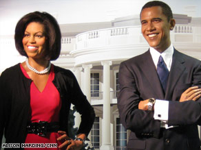 Crowds lined up around the block to see the new Michelle Obama wax figure at Madam Tussauds in Washington.