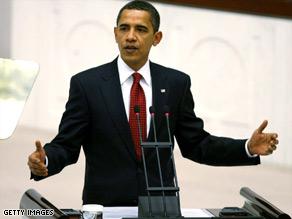 President Obama addresses the Turkish parliament on Monday.