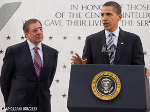 President Obama met with CIA workers and Director Leon Panetta, left, in Virginia on Monday.