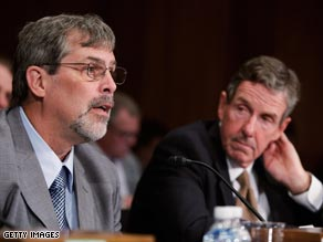 Capt. Richard Phillips, left, and John Clancy, the head of Maersk Line Ltd., testify before a Senate committee.