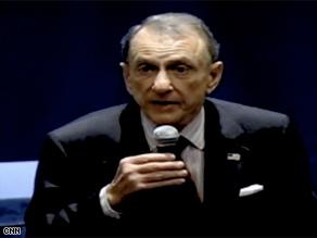 Sen. Arlen Specter, now a Democrat, held a town-hall meeting Monday in Hershey, Pennsylvania.