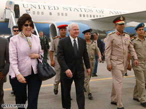 Defense Secretary Robert Gates arrived in Cairo, Egypt, on Monday. He's visiting Afghanistan on Wednesday.