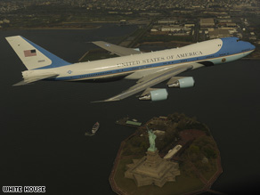 The 747 used as Air Force One flies over the Statue of Liberty in this photo released on Friday by the White House.