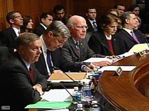 From left: Sens. Lindsey Graham, Sheldon Whitehouse, Patrick Leahy and Dianne Feinstein listen Wednesday.