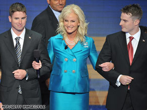 Cindy McCain walks with son Jimmy, left, and Jack at the Republican National Convention.