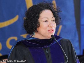 Judge Sonia Sotomayor receives an honorary degree from New York's Pace University in 2003.