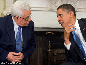 Palestinian Authority President Mahmoud Abbas, left, meets with President Obama Thursday.