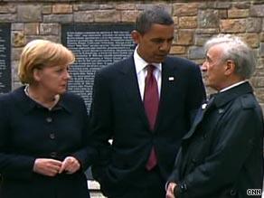 President Obama visits Buchenwald with Chancellor Angela Merkel, left, and survivor and activist Elie Weisel.