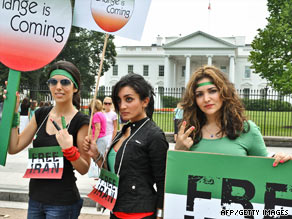 Iranian women demonstrate Saturday in front of the White House, where President Obama issued a statement.
