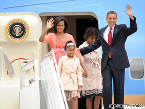 President Obama and his family arrive in Moscow on Monday.